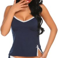 Womens Sexy Lingerie Pajama Cami Set Cute Lace Sleepwear Top and Short. Perfect Gift Choice for Your Girlfriend,  Wife, Mother, Sisters or Friends on Birthday, Christmas Day, New Year, Valentine's Day, Bridal Party Gifts, Honeymoon  Vocation or other Festivals or Anniversaries. Mon, 18 Jan 2021 04:48:34 +0400