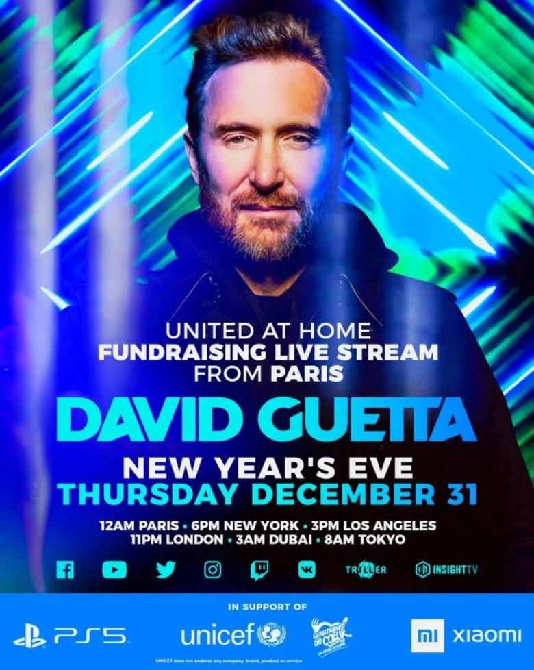 """David Guetta Announces Third Charity Livestream """"United At Home"""" On New  Year's Eve!  """