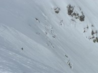 Vin product testing on the Tuckerman's Ravine Headwall, skiing the BOSS 318