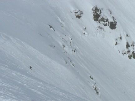 Vin product testing on the Tuckerman's Ravine Headwall, skiing the BOSS 318