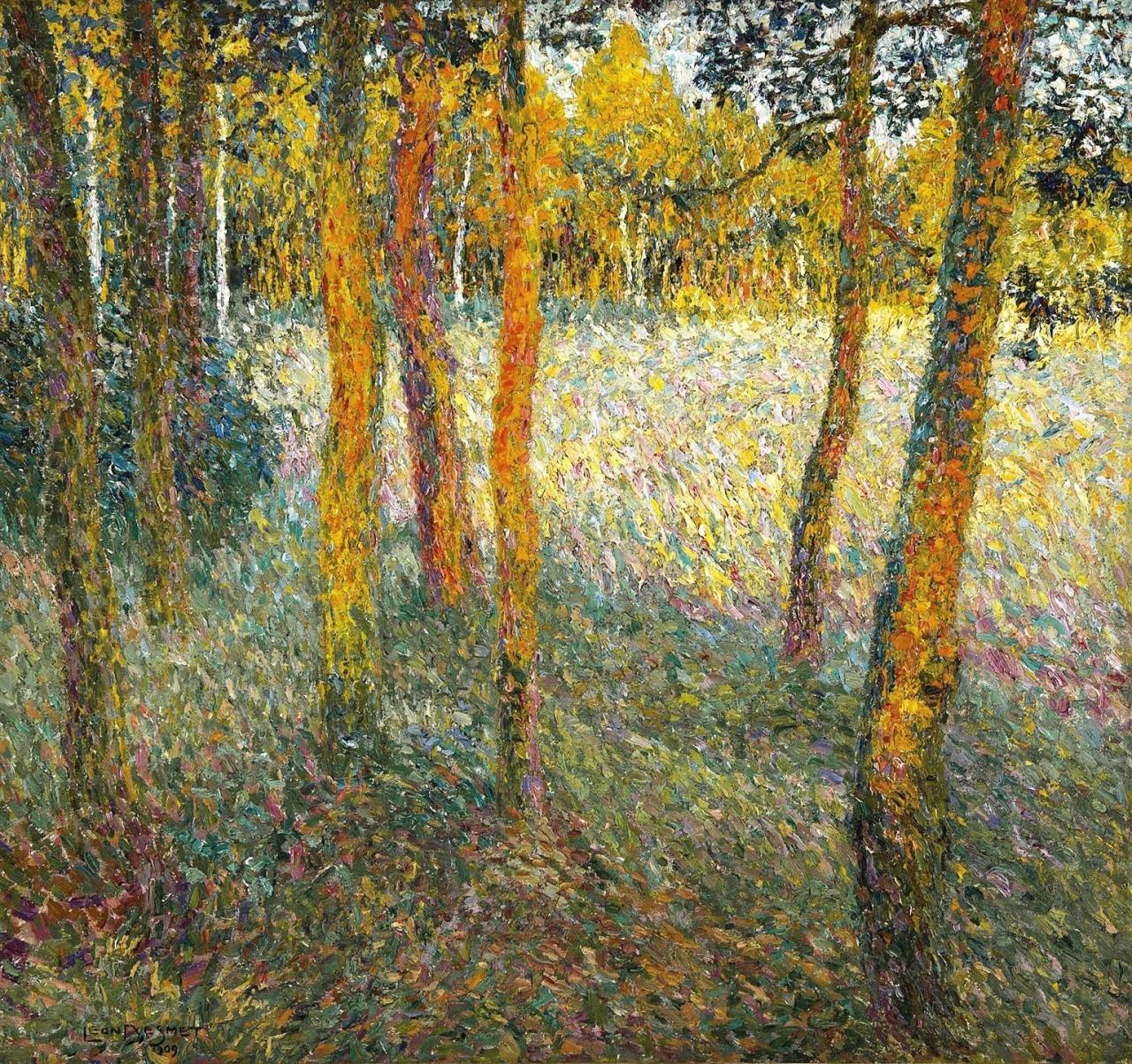 """thunderstruck9:"""" Léon De Smet (Belgian, 1881-1966), Aan de rand van het bos [At the edge of the forest], 1909. Canvas, 75 x 80 cm."""""""
