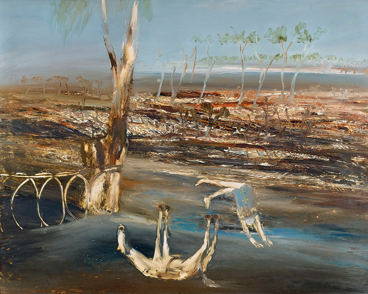"thunderstruck9: "" Sidney Nolan (Australian, 1917-1992), Ned Kelly: Crossing Bridge, 1964. Oil on composition board, 122.5 x 153 cm. """