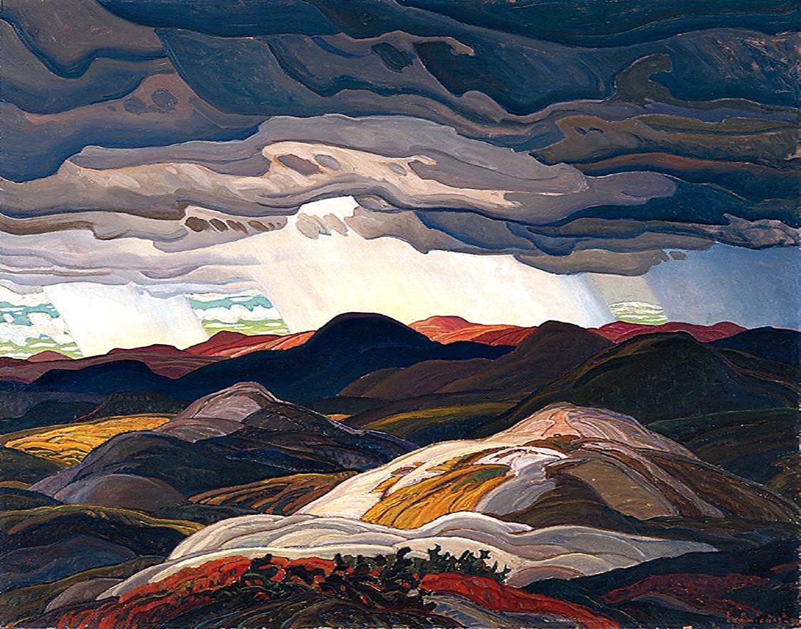 "kafkasapartment: "" Snow Clouds, 1938. Frank Carmichael. Oil on masonite """