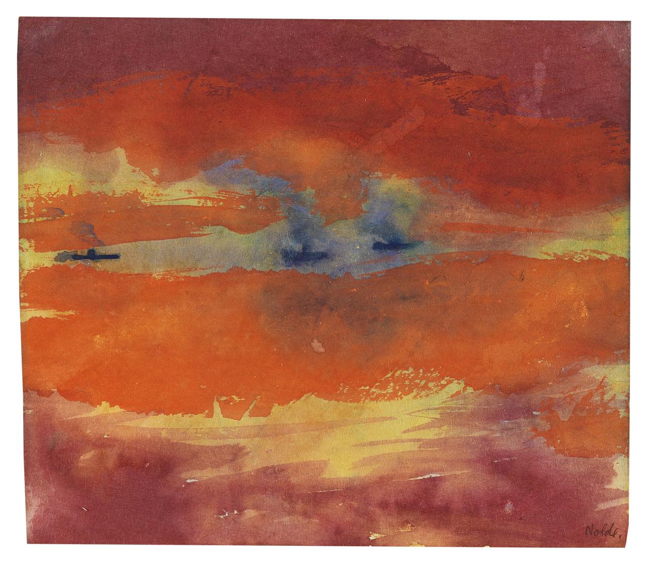 "lawrenceleemagnuson: "" Emil Nolde (1867-1956) Schwüler Abend (1946) watercolor on Japan paper 23.2 x 26.8 cm """