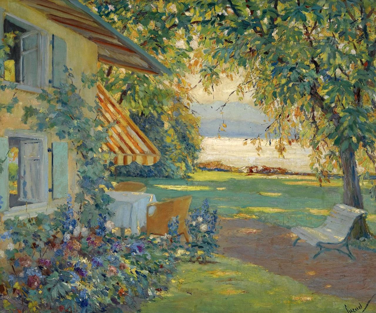 "dappledwithshadow: "" Edward Cucuel The Artist's Garden on Lake Starnberg """