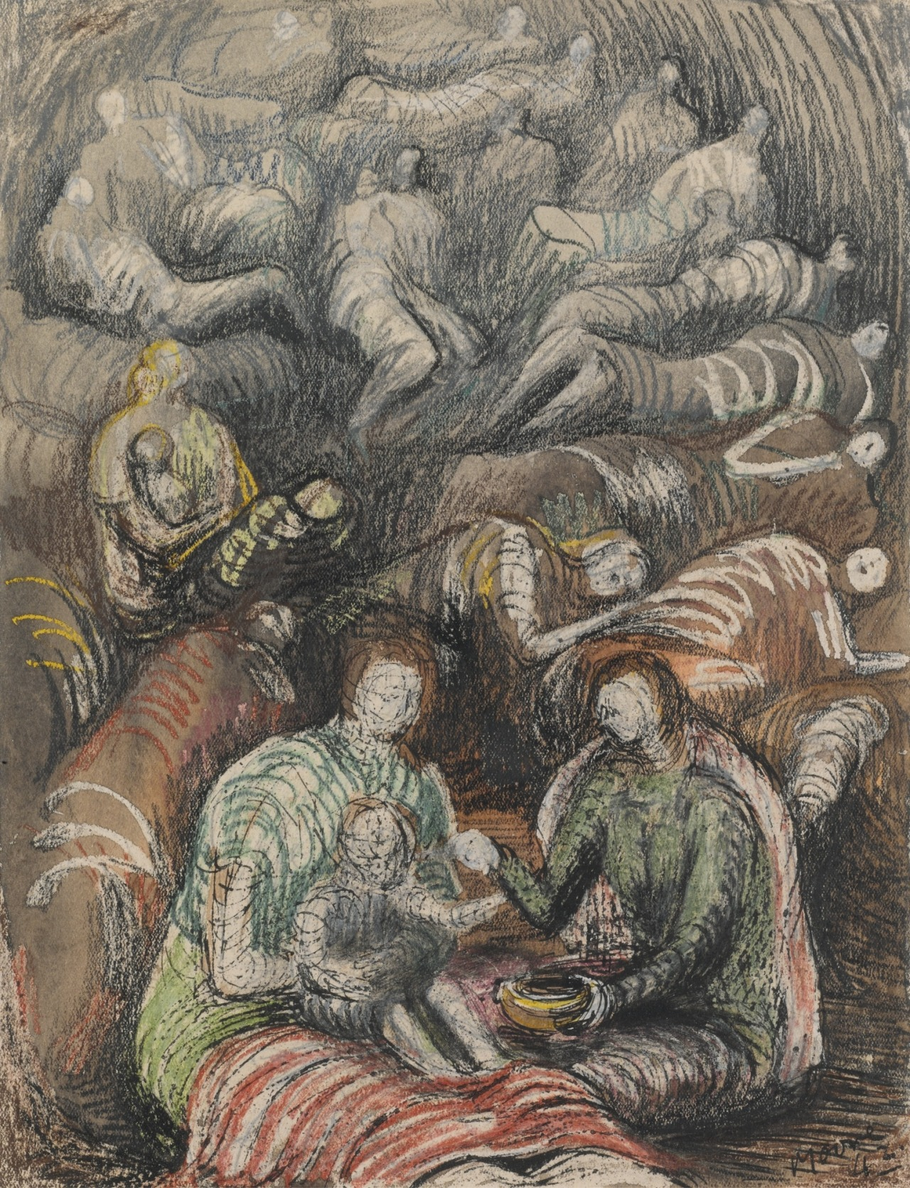 """thunderstruck9: """" Henry Moore (British, 1898-1986), Shelter Drawing, 1942. Pencil, watercolour, wax crayon, pen and ink on paper, 28 x 21.5 cm. """""""