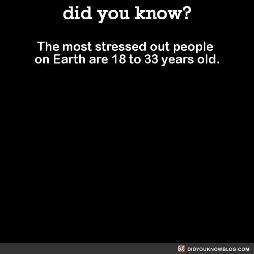 The most stressed out people on Earth are 18 to 33 years old. Source