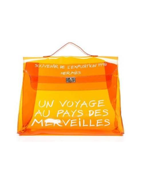 Pre-Owned Hermes Orange Vinyl Souvenir D' Exposition Kelly Bag