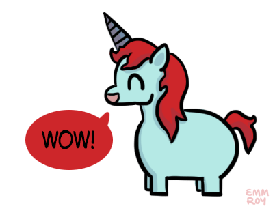 "[drawing of a light blue unicorn with a red mane and tail and a blue horn saying ""Wow!"" in a red speech bubble.]"