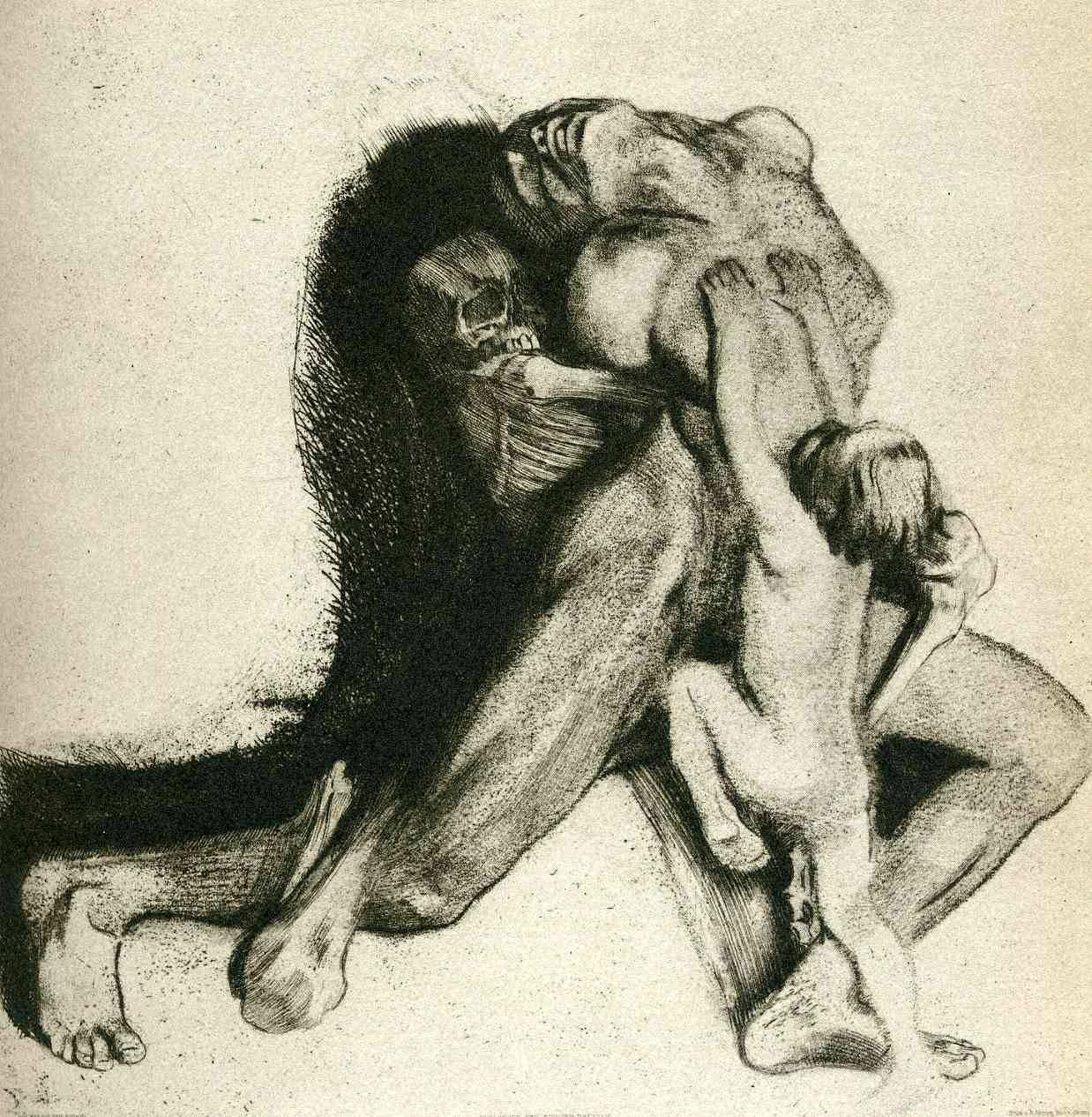 Kathe Kollwitz: Tod und Frau (Death and Woman) 1910. lithograph