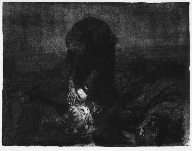 Kathe Kollwitz: Battlefield (1907) etching, drypoint, aquatint