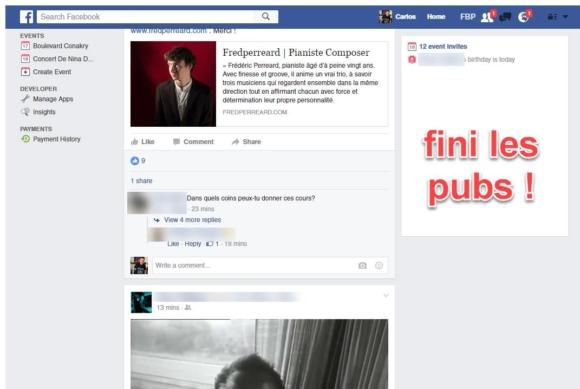 Capture d'écran Facebook sans publicité