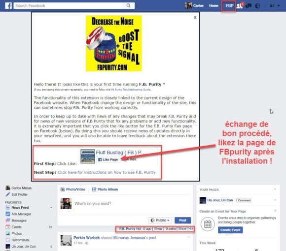 Capture d'écran Like FB Purity
