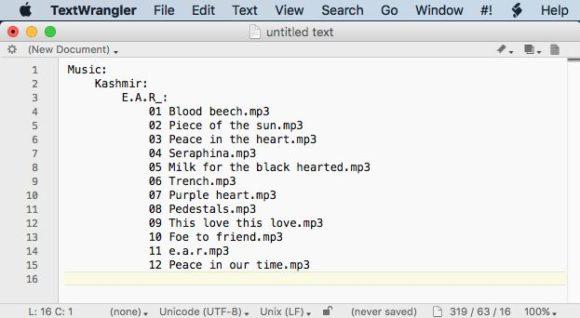 Capture d'écran d'un drag and drop de dossiers dans TextWrangler