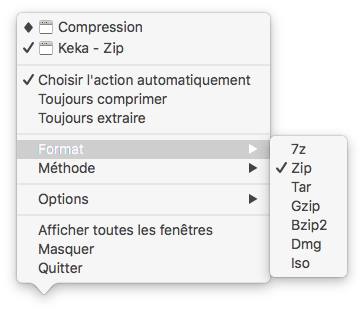 """Capture d'écran du menu contextuel """"Format"""""""