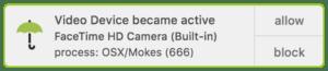 Capture d'écran d'une notification d'activation de la webcam