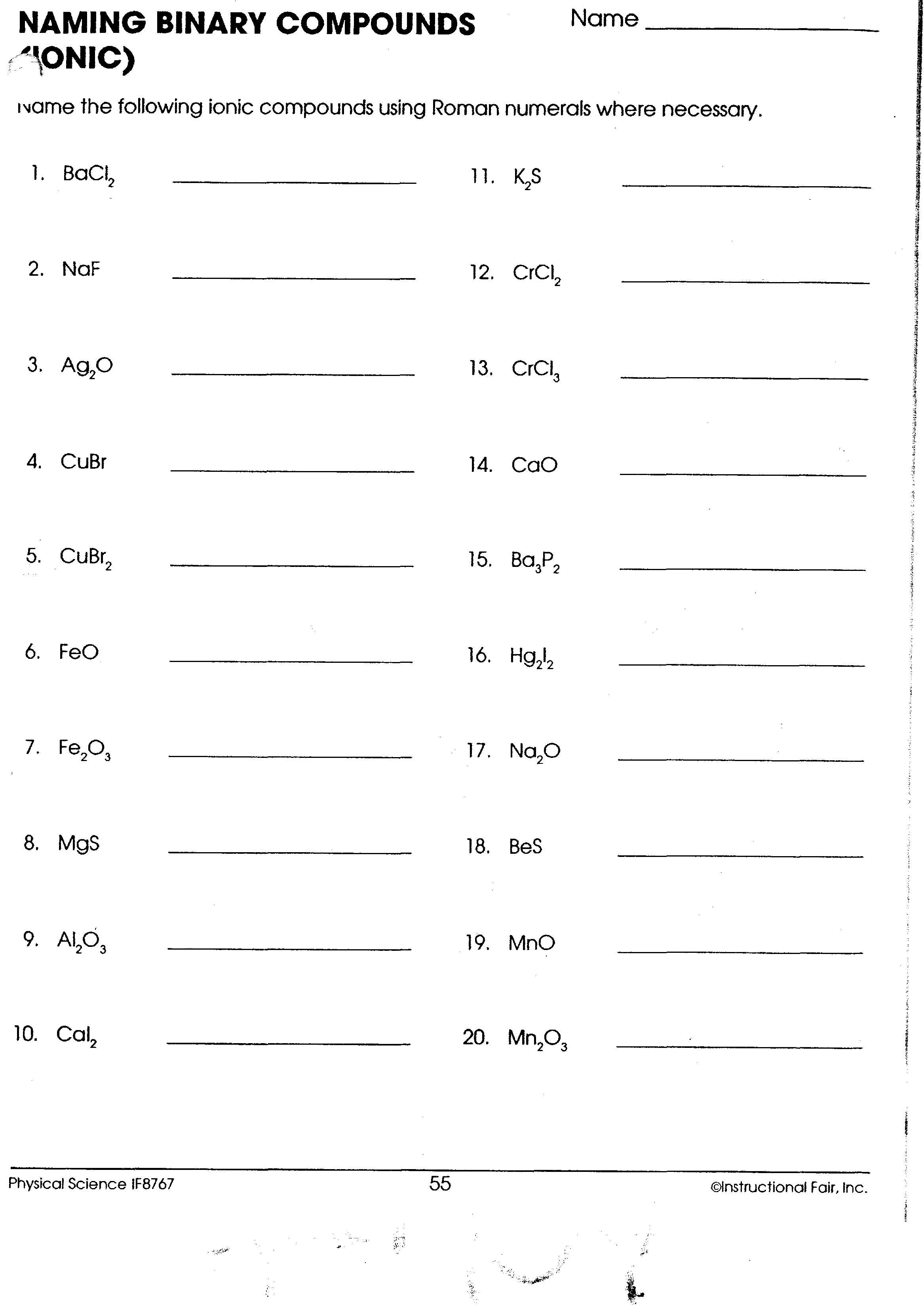 Simple Binary Ionic Compounds Worksheet Answer Key