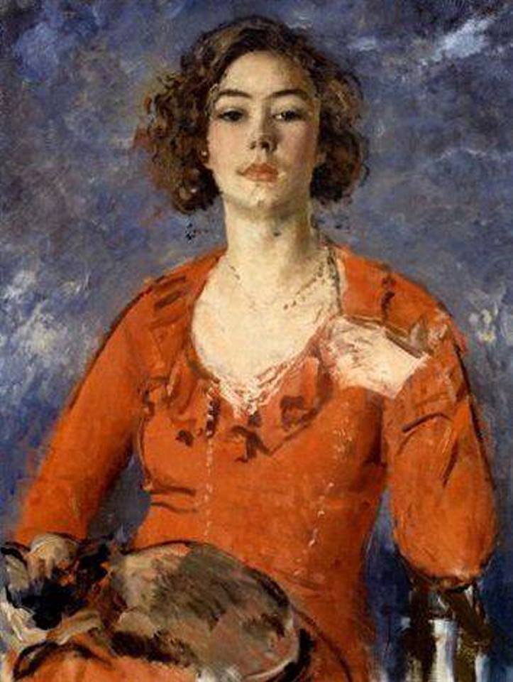 """huariqueje: """"  Poppet seated in a red dress with a cat on her lap - Augustus Edwin John British, 1878–1961 Oil on canvas, 91.5 x 71 cm. (36 x 28 in.) """""""