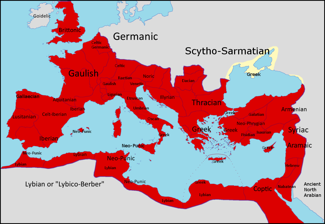 Provincial Languages Of The Roman Empire In 150