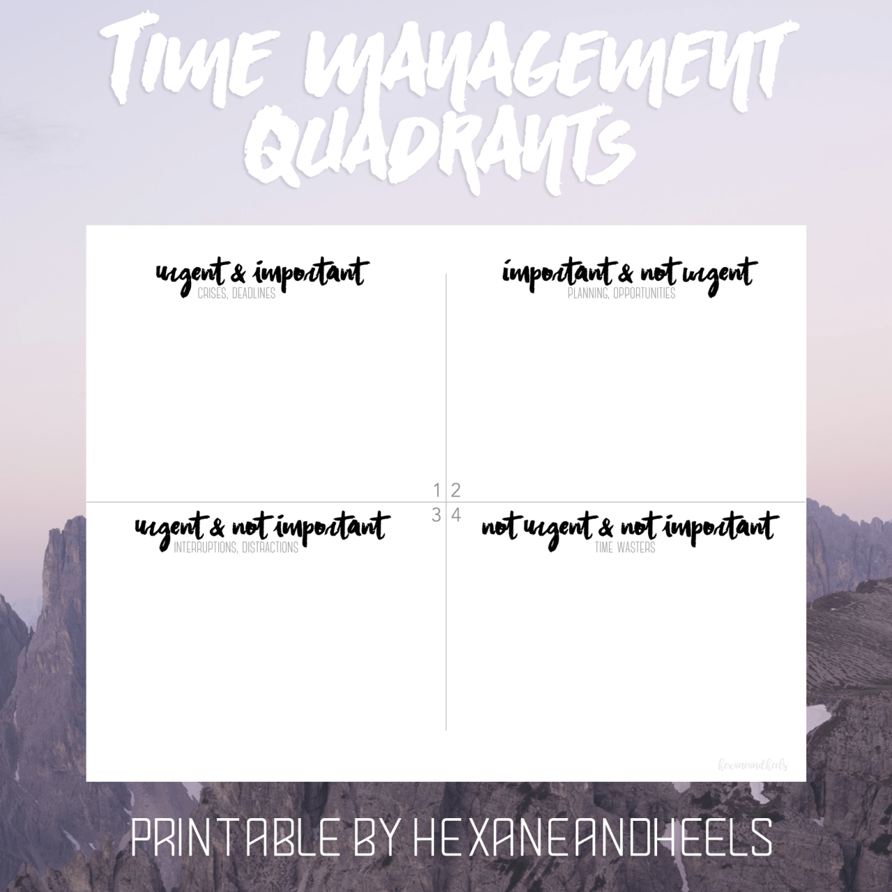 Covey Quadrants Printable That Are Eloquent