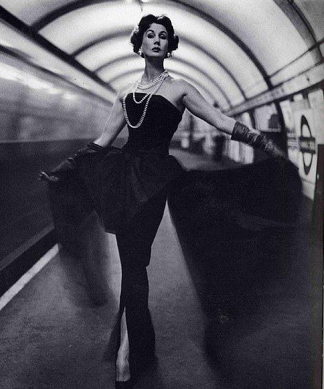 Model Barbara Goalen wears Dior, photographed by John French in London in 1954