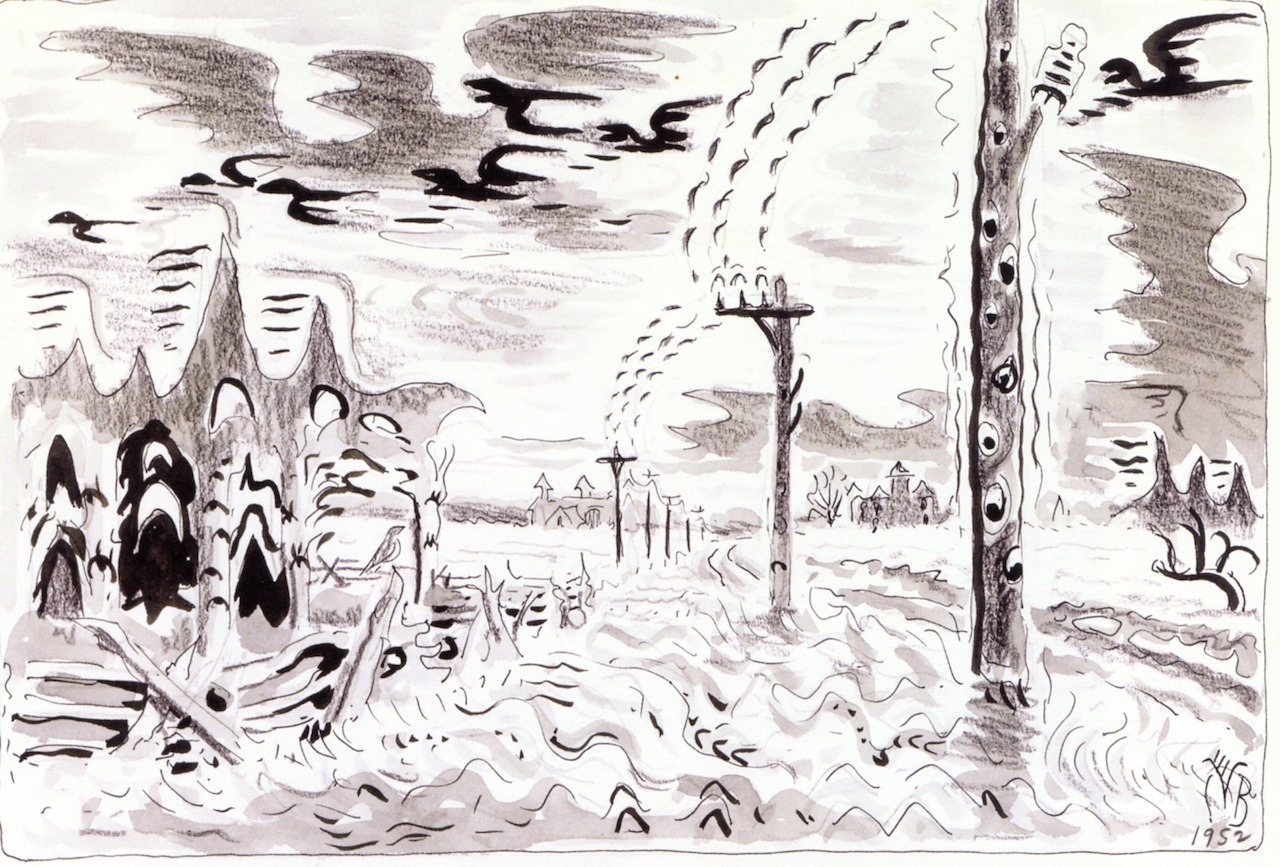 "dappledwithshadow: "" Song of the Telegraph Charles Burchfield 1952 Private collection Drawing Height: 22.2 cm (8.74 in.), Width: 34.3 cm (13.5 in.) """