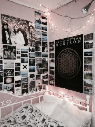 Punk Rock Music Posters on wall in dorm room clique tips