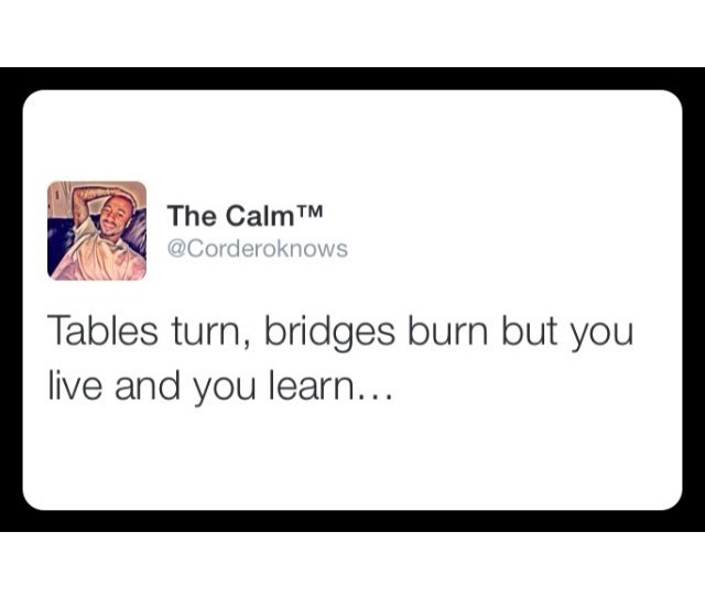 Tables Turn Bridges Burn But You Live And You Learn Things