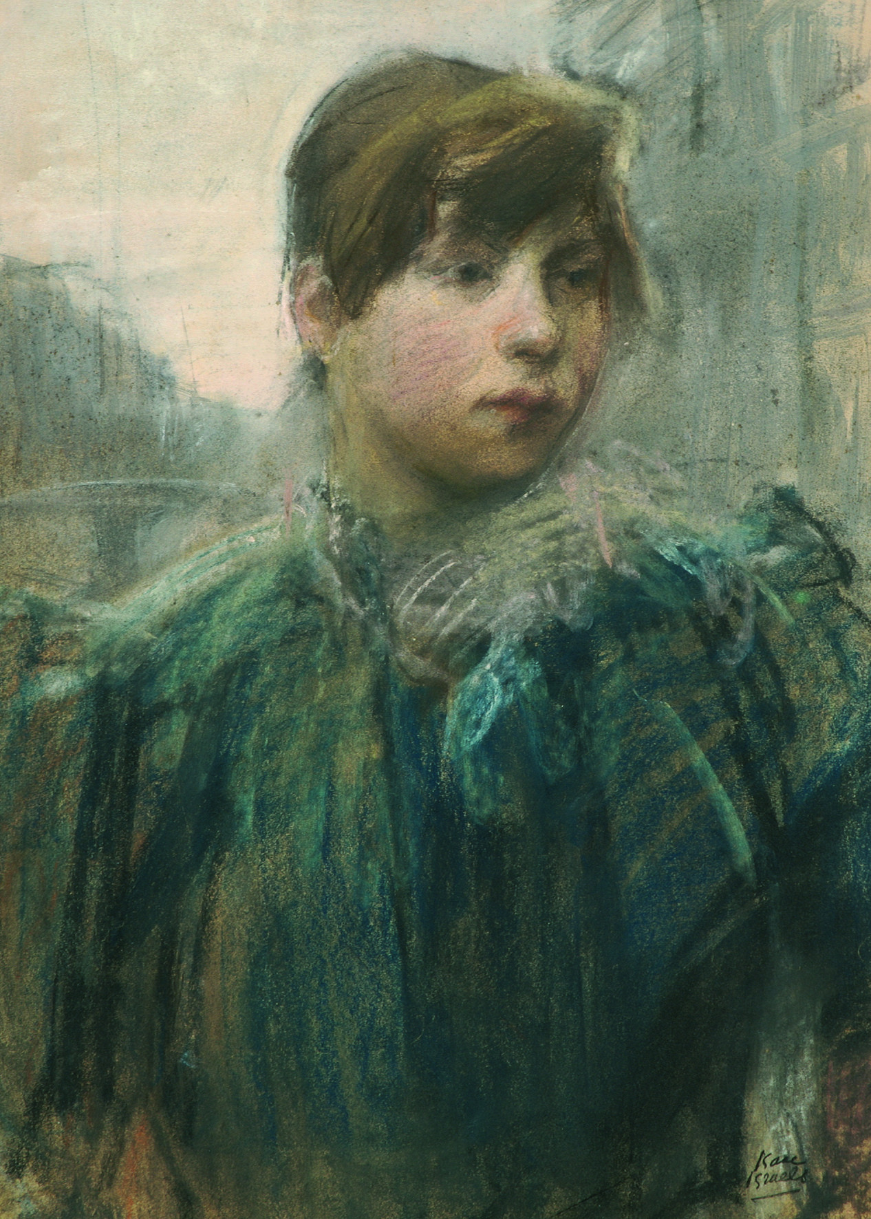 """huariqueje: """" Factory Worker Girl on an Amsterdam Canal - Isaac Israels , c . 1893 Dutch, 1865-1934 Pastel on paper, 53 x 38 cm. """""""