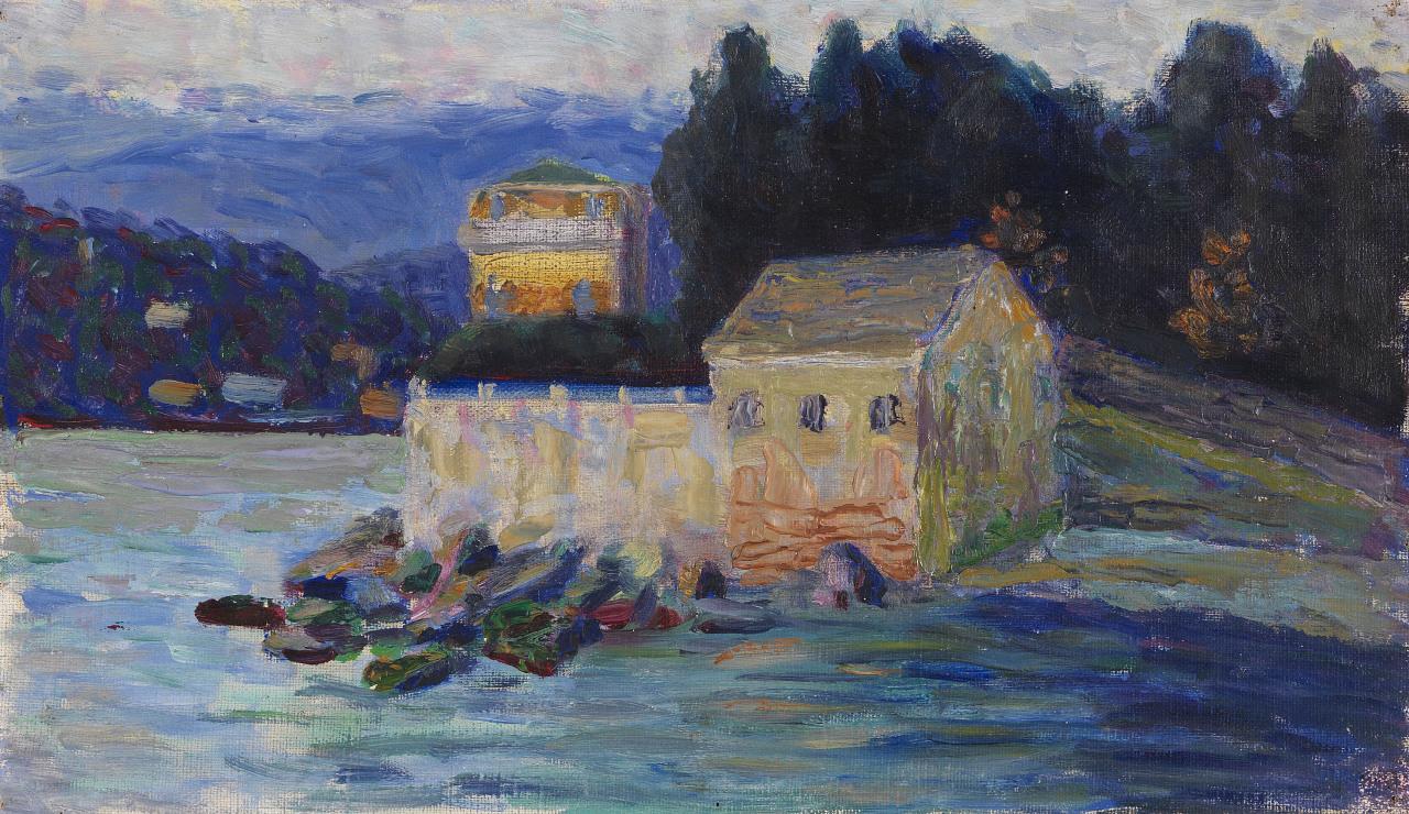 "lawrenceleemagnuson: "" Gabriele Münter (Germany 1877-1962) Landschaft bei Rapallo (1906) oil on canvas laid on board 20 x 34.2 cm """