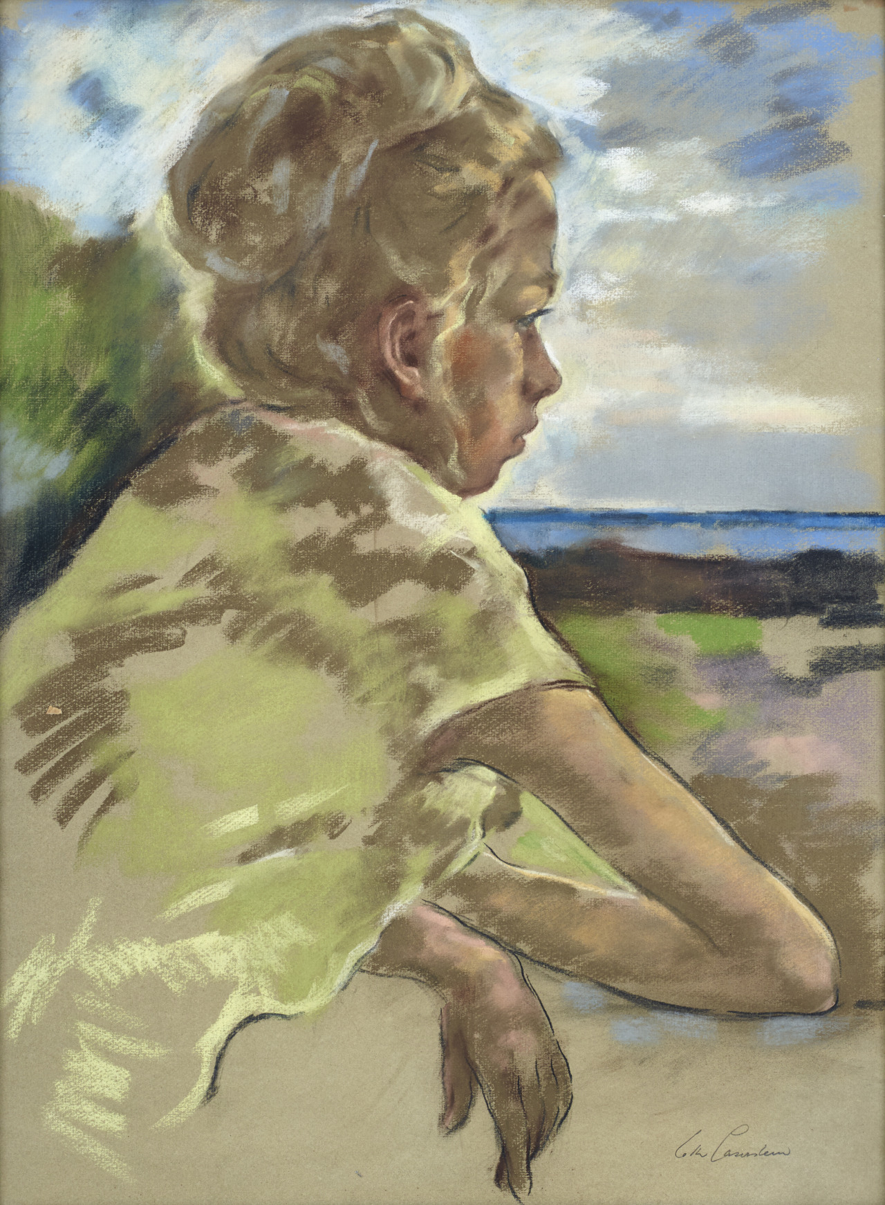 "huariqueje: ""  Woman gazing out the window - Lotte Laserstein Swedish, 1898-1993 Mixed media, 62 x 47 cm. """