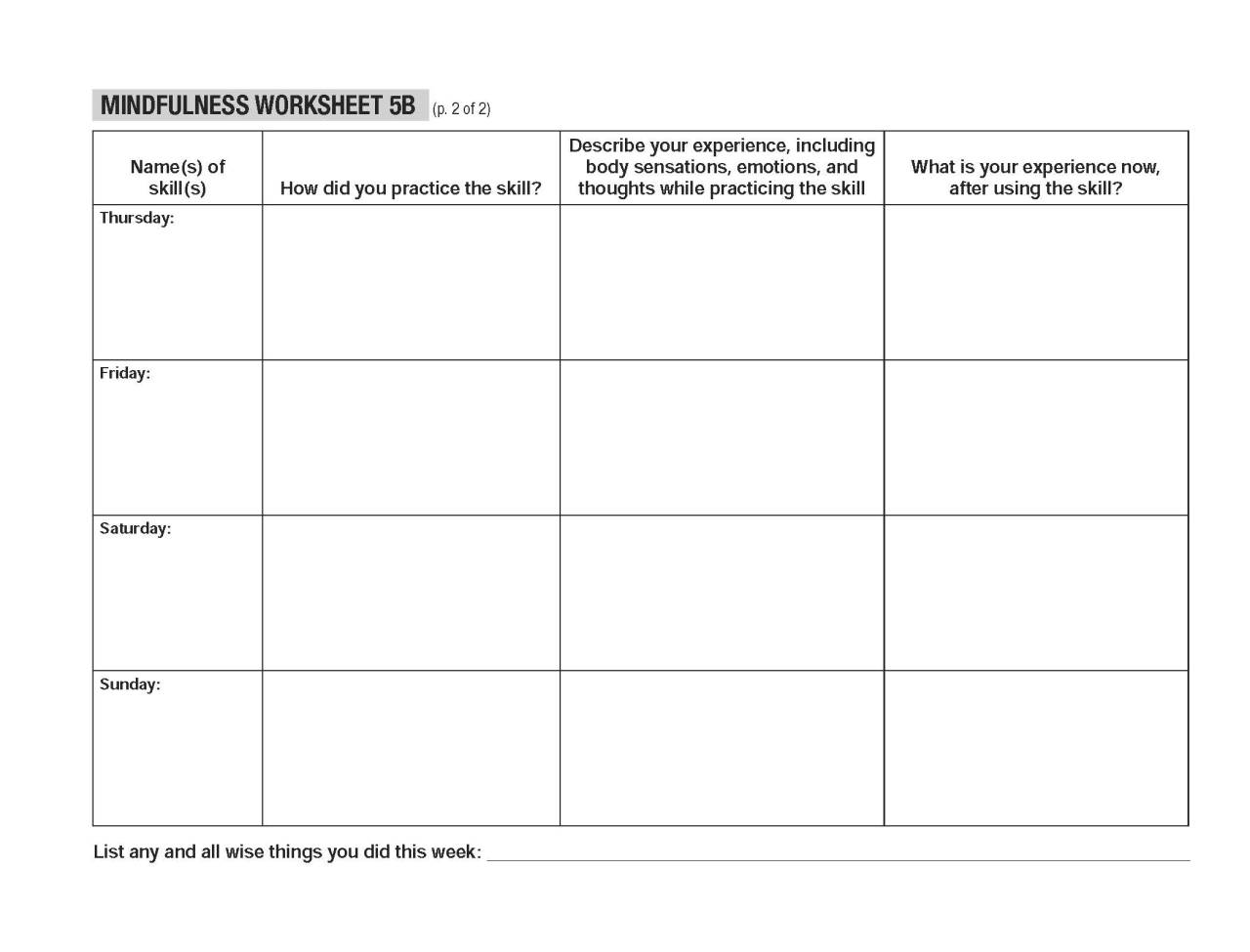 Radical Acceptance Worksheet Worksheets For School