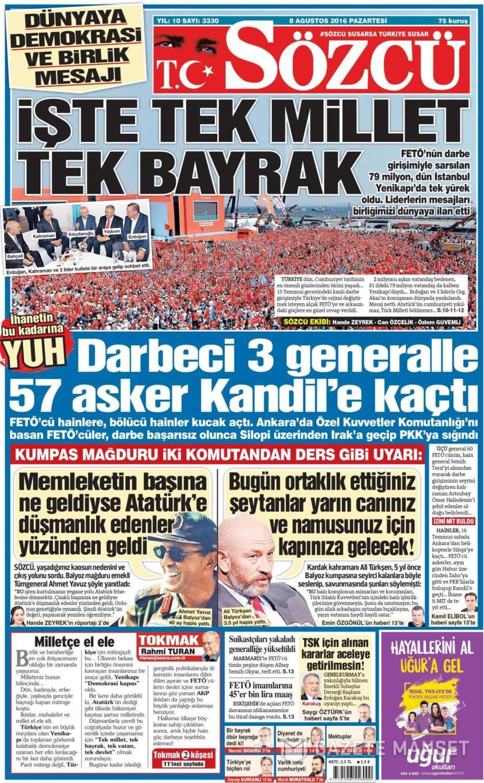 gazeteler,manşet,8 Ağustos,yenikapı,akp,chp,mhp,miting,demokrasi ve şehitler mitingi,15 temmuz,darbe,15 temmuz saldırısı,iç savaş girişimi,erdoğan,cumhurbaşkanı,miting sonrası, gazete başlıkları,akşam,anayurt,yeni şafak,amk,milliyet,posta,yeni birlik,dokuz sütun,milat,sonsöz,hürriyet,vatan,türkiye,aydınlık,dünya,ortadoğu,yeni asya,fanatik,yeni mesaj,cumhuriyet,takvim,milli gazete,diriliş postası,vatan,sabah,yeniçağ,haber türk,stra, daily news,foto maç,akit,yeni söz,birgün, güneş,günboyu,sözcü,karar