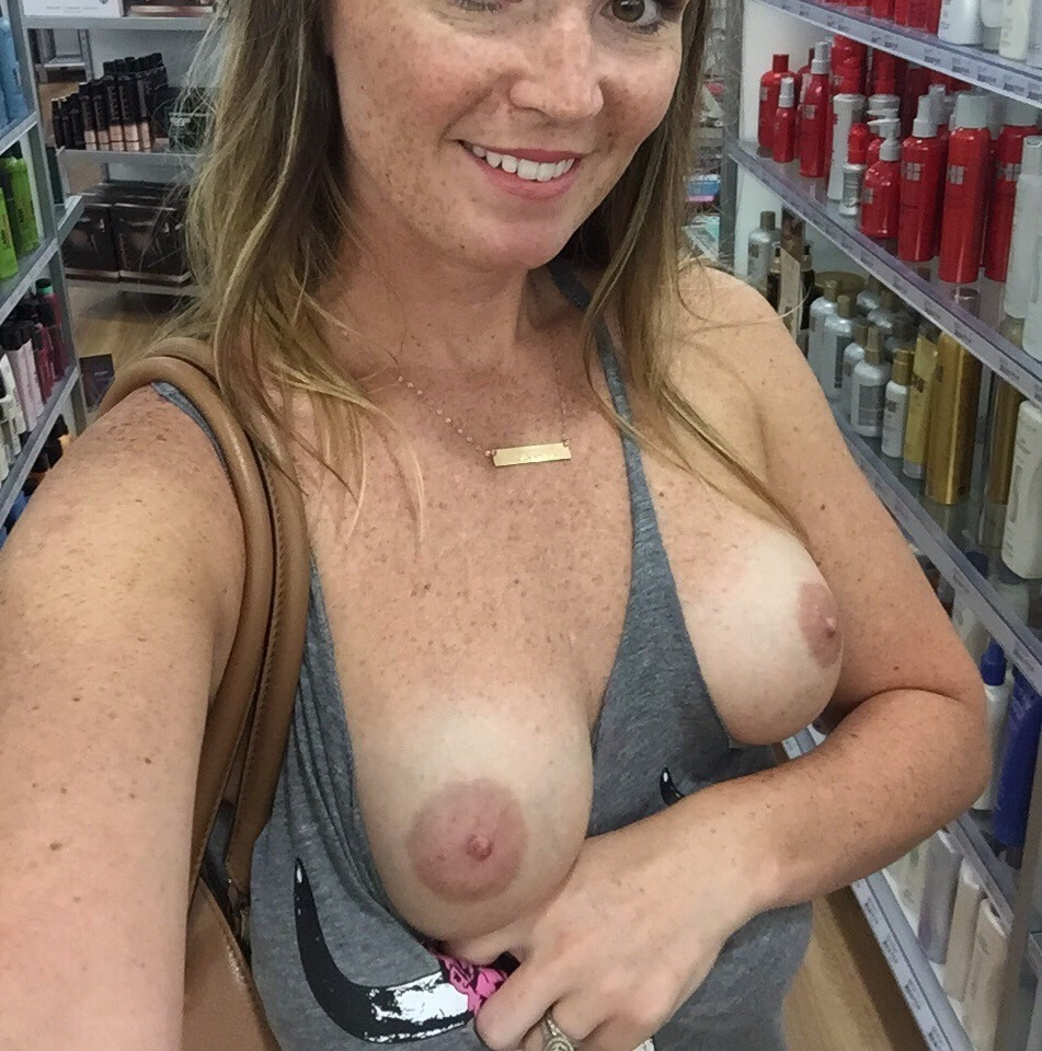 Wife showing tits in public