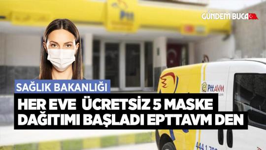 PTT Her Eve Haftalık Ücretsiz 5 Maske Dağıtacak.