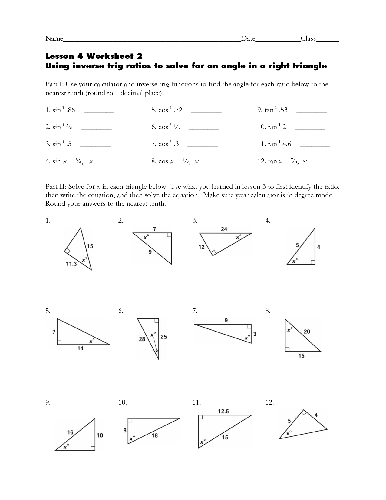 Printables Trigonometry Worksheets Kigose Thousands