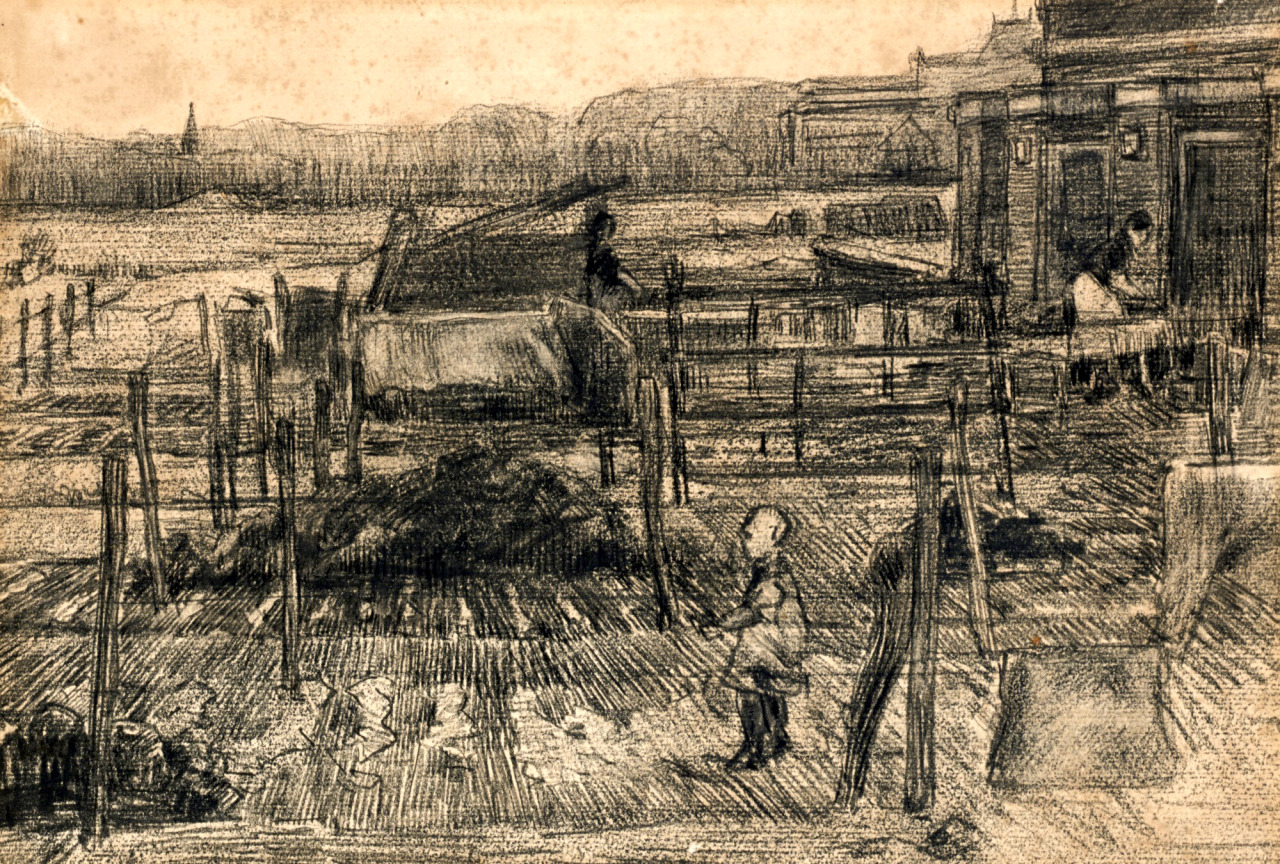 "dappledwithshadow: "" Vincent van Gogh Backyards with Two Figures Executed in The Hague circa 1882 charcoal on paper 23.9 by 35.2cm., 9 3/8 by 13 ¾ in. """