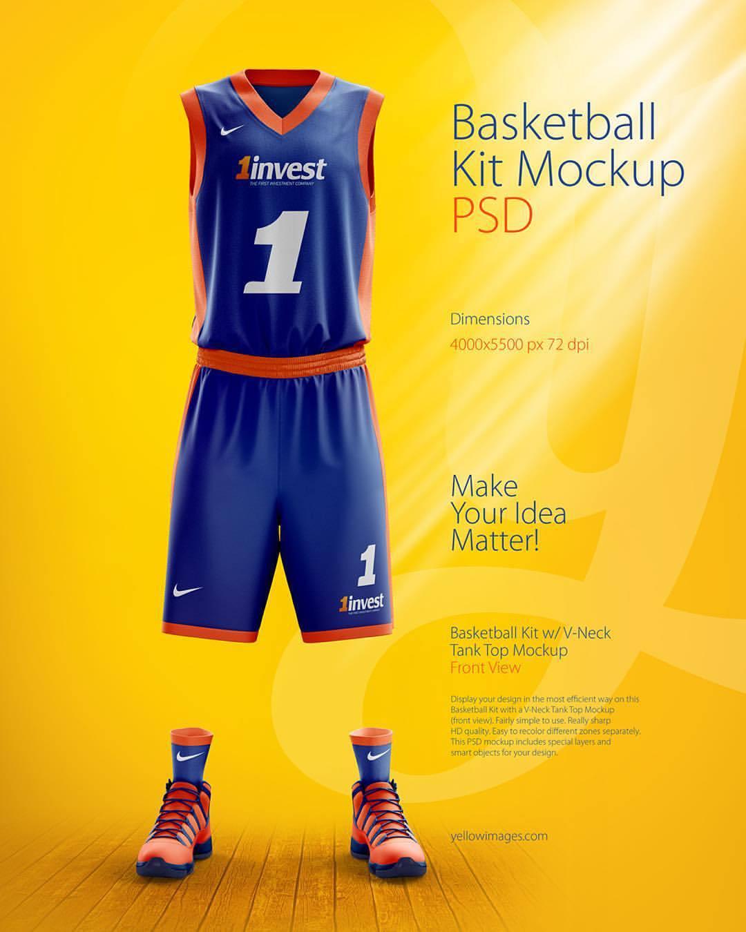 Download YELLOW IMAGES — #basketball #kit #PSD #mockup #marketplace...