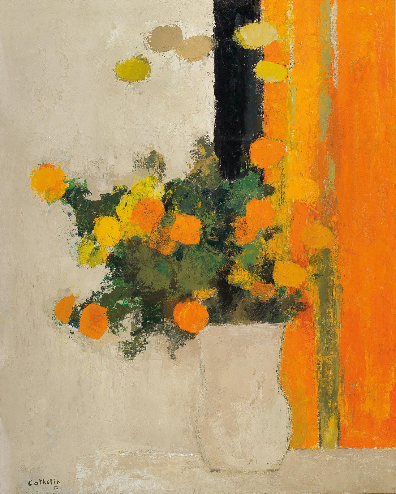 "igormaglica: "" Bernard Cathelin (1919-2004), Roses d'Inde des Rebattières, 1972. oil on canvas, 162 x 130 cm """