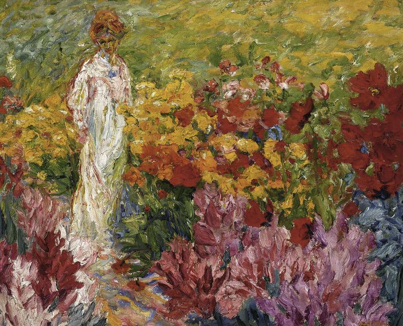 "terminusantequem: "" Emil Nolde (German, 1867-1956) - Flower Garden. Woman in White Dress en face (1908) """