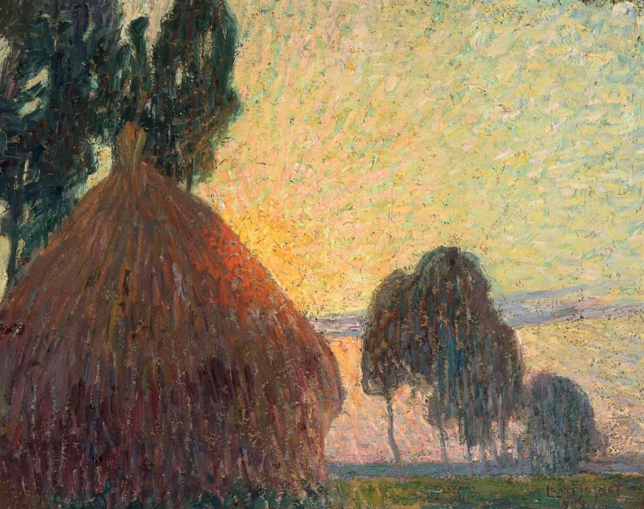"""thunderstruck9:"""" Léon De Smet (Belgian, 1881-1966), Meule de foin au coucher du soleil [Haystack at Sunset], 1904. Canvas, 27.8 x 25.6 cm."""""""
