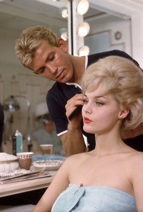 Hollywood hairstylist George Masters, does Carol Lynley's hair, 1960s.