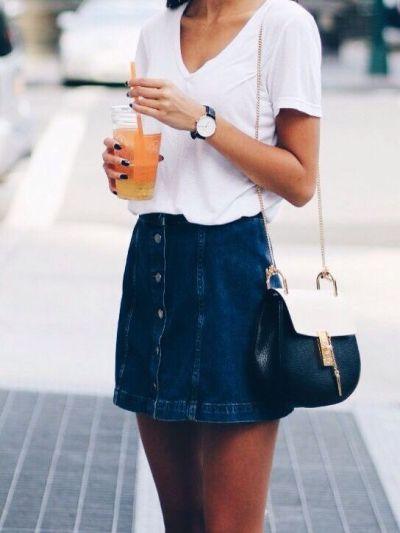 Cutebeauty Lifefashion Blogdenim Button Up Skirtwhite V Neck Shirtcross Body Purseblue Skirtskirtwatchblack Polishblack