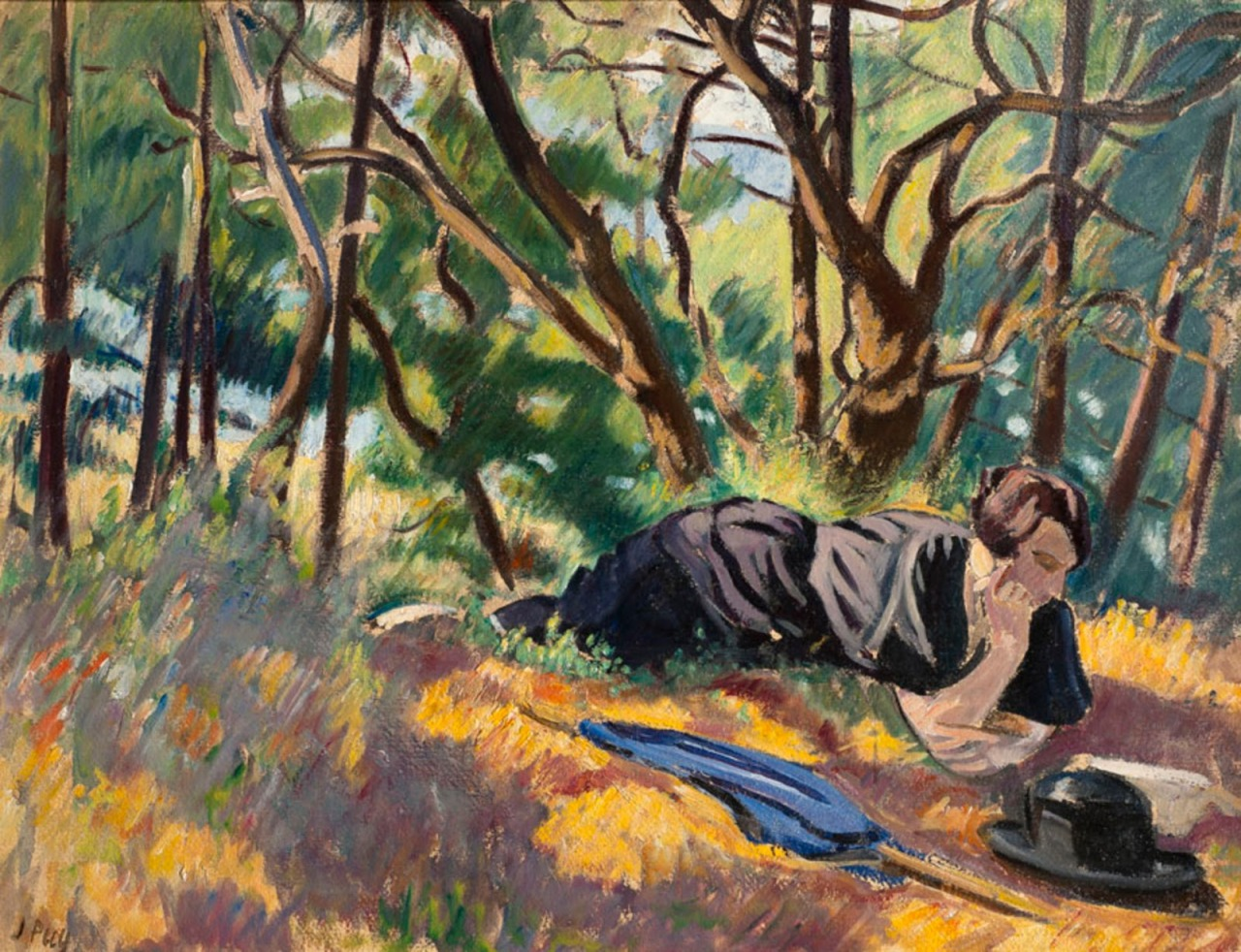 "huariqueje: "" Young woman reading in the forest - Jean Puy , c. 1912 French 1876-1960 oil on paper mounted on canvas , 56 x 72 cm """