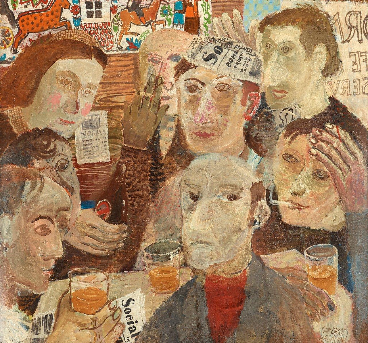 "huariqueje: "" Bar Scene - Olle Olsson Hagalund. Swedish 1904-1972 Canvas 70,5 x 75 cm. """
