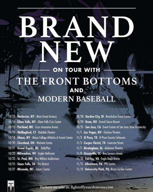 With a lineup this fantastic, it's hard to pass on buying a ticket to this tour featuring Brand New, The Front Bottoms, and Modern Baseball! These indie rock artists appeal to fans that range from former emos kids to alternative music junkies....