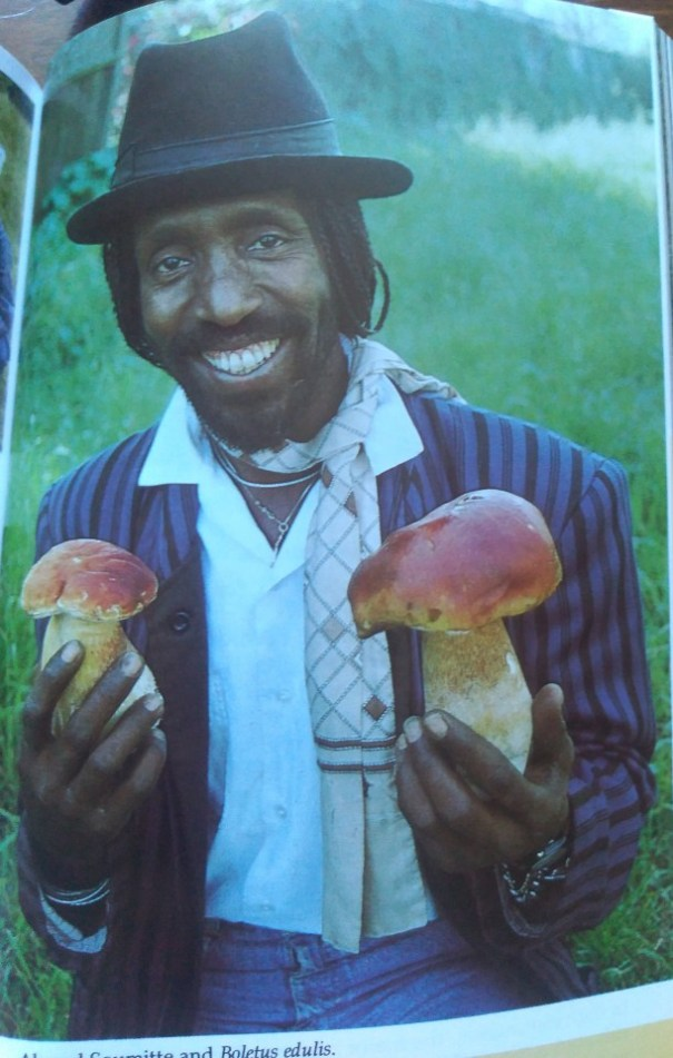 A smiling man holding two bolete mushrooms.