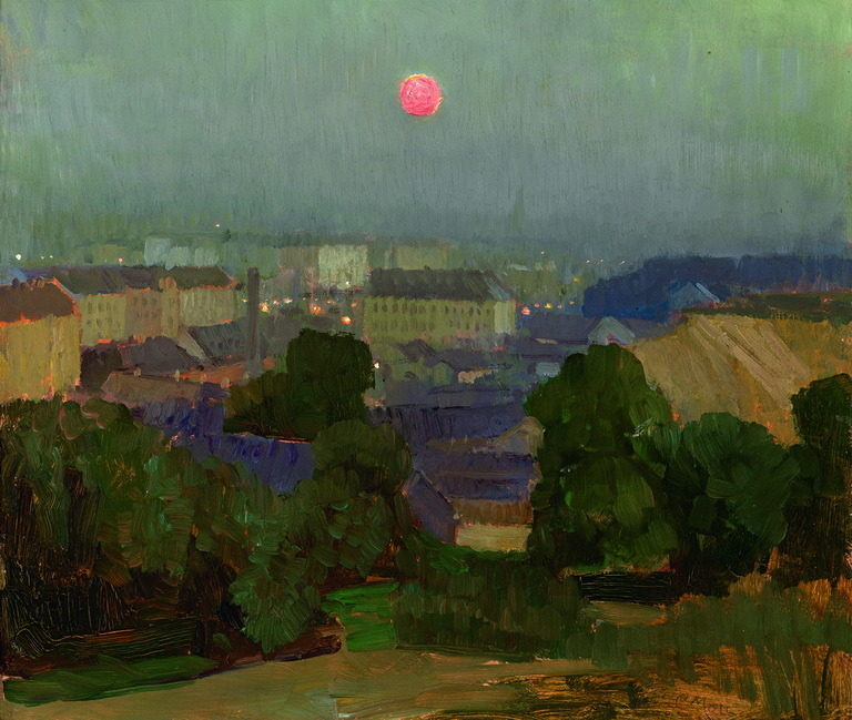 "huariqueje: "" Heiligenstadt at Full Moon - Carl Moll , 1906-10 Austrian, 1861–1945 Oil on wood , 34.5 x 35.8 cm. (13.6 x 14.1 in.) """