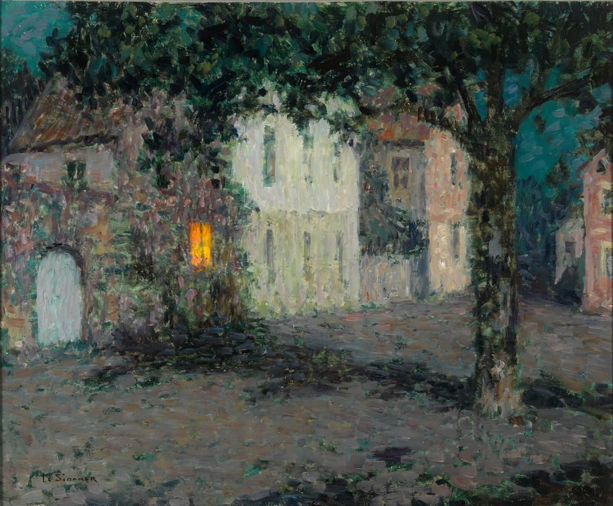 "amare-habeo: "" Henri Le Sidaner (French, 1862-1939) Square to Cherbourg at night, 1934 Oil on canvas """