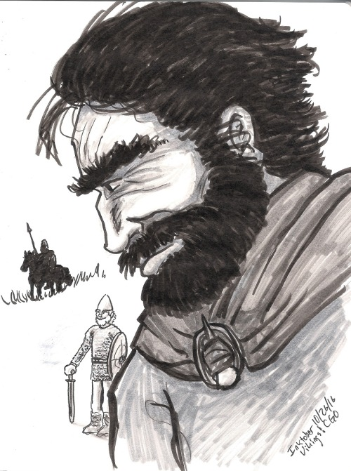 Inktober day 26–up late super stressed about this paper I'm going to present soon, so this is pretty hasty. Some vikings, and a big headed viking guy. Seriously, I don't know why I drew the torso facing forward, the pose makes his head huge and his...